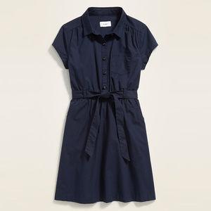 OLD NAVY Girls Uniform Tie-Belt Shirt Dress